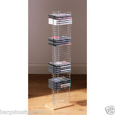 50 DVD Playstation Xbox Games Storage Tower Rack Chrome Free Standing Unit  New