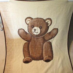 Vintage-Biederlack-Reversible-Blanket-Throw-Brown-Tan-Teddy-Bear-Size-75-X-59-US