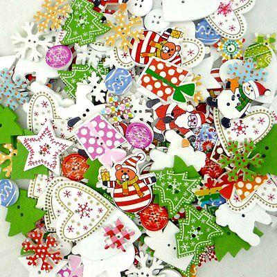 30/200/1000pcs Mixed Wooden Christmas Theme Buttons Lots Craft Scrapbook Sew DIY