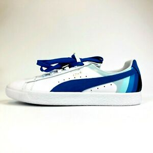 best website 36afe 037f4 Details about Puma Pink Dolphin Clyde Sneakers White Blue Aqua Mens Size  10.5 Extra Laces NWOT
