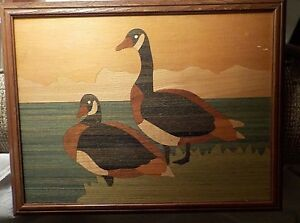 Vintage-wood-inlay-geese-art-picture-12-034-x-16-034-framed-various-stained-pieces