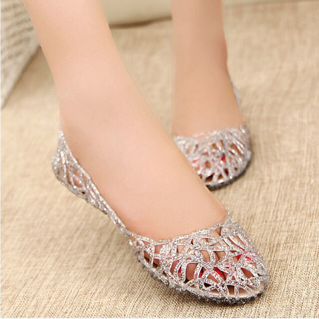 Hot Sales Summer Women Soft Rubber Floral Hollow Out Round Toe Flat Sandal Shoes