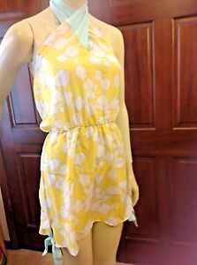 Mud-Pie-SOPHIA-3-WAY-DRESS-Women-039-s-Size-SMALL-BEACH-TO-BAR-Yellow-Blue-NWT