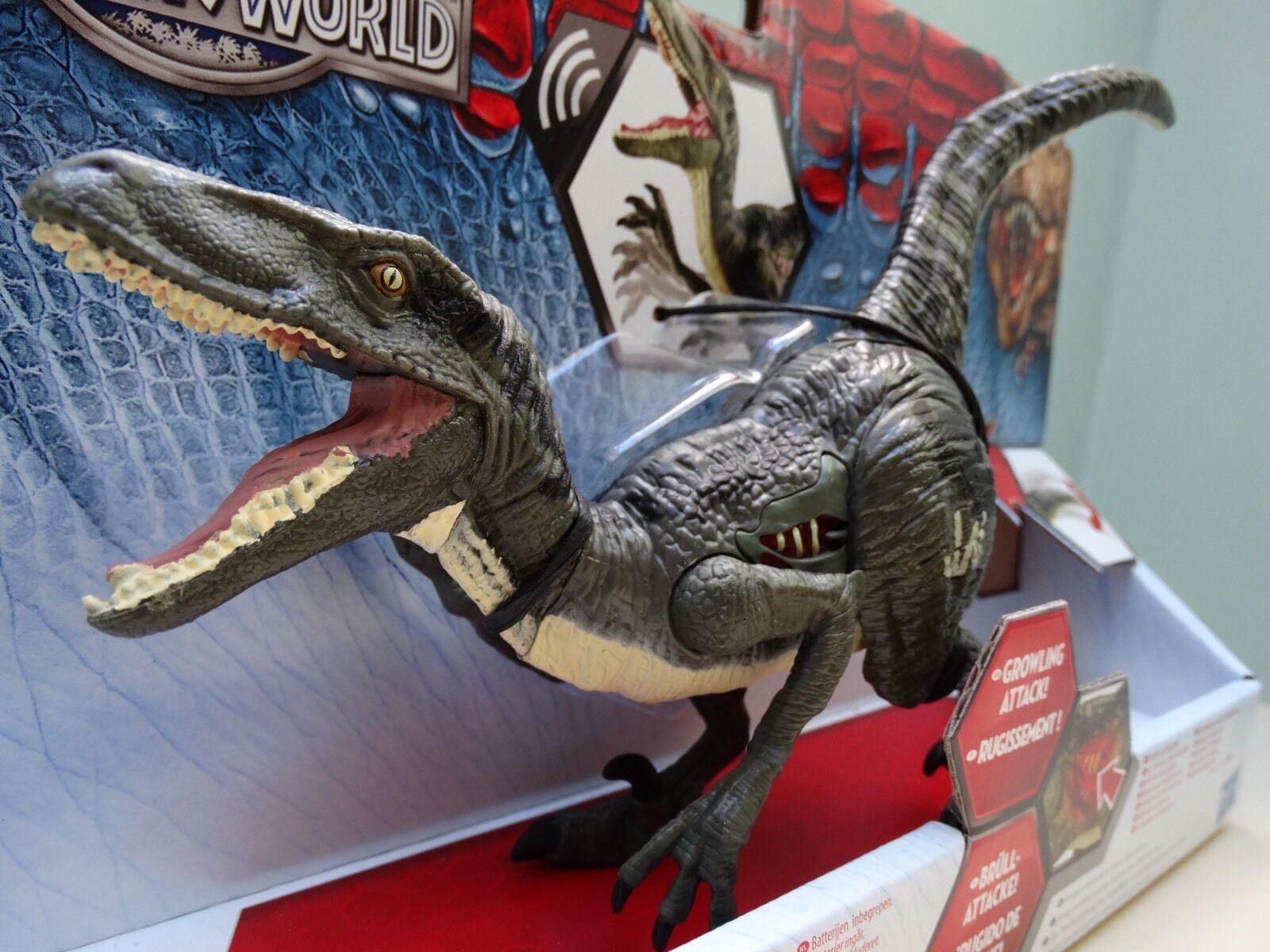Jurassic welt blau velociraptor dinosaurier actionfigur park bnib growler klingt