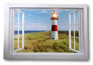 Image Is Loading Wall Art Canvas LED Light Up Lighthouse Beach