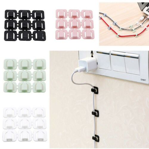 New 18Pcs Cable Cord Wire Line Organizer Clips Data Lines Adhesive Clamp Fixer