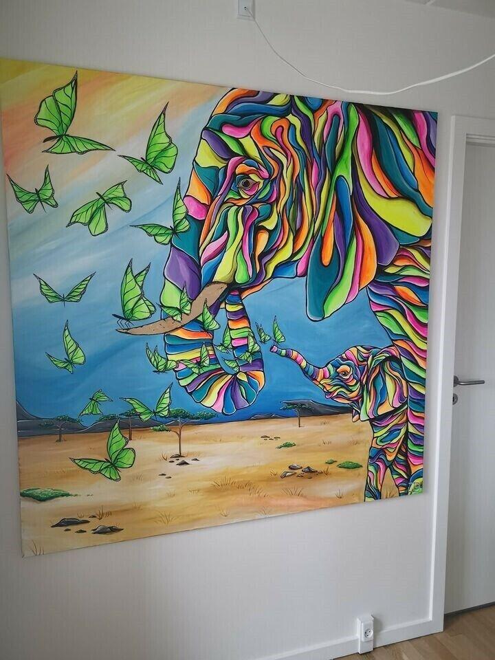 Akrylmaleri, motiv: Dyr, stil: Pop Art