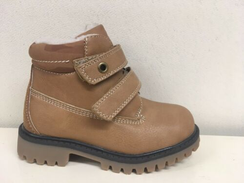 New Younger Boys Light Brown Tan Fleece Lined Ankle Boots Size 6 7 8 9 10 11 12