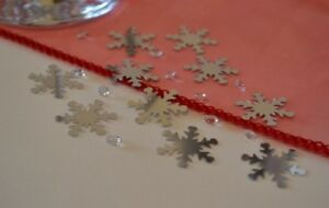 Snowflakes-Christmas-Table-Decorations-Silver-amp-Crystals-Luxury-Xmas-Confetti