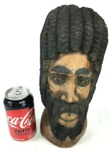 Vtg Hand Carved Solid Wood Rasta Rastafarian Tribal Head Bust Folk Art Heavy 4lb