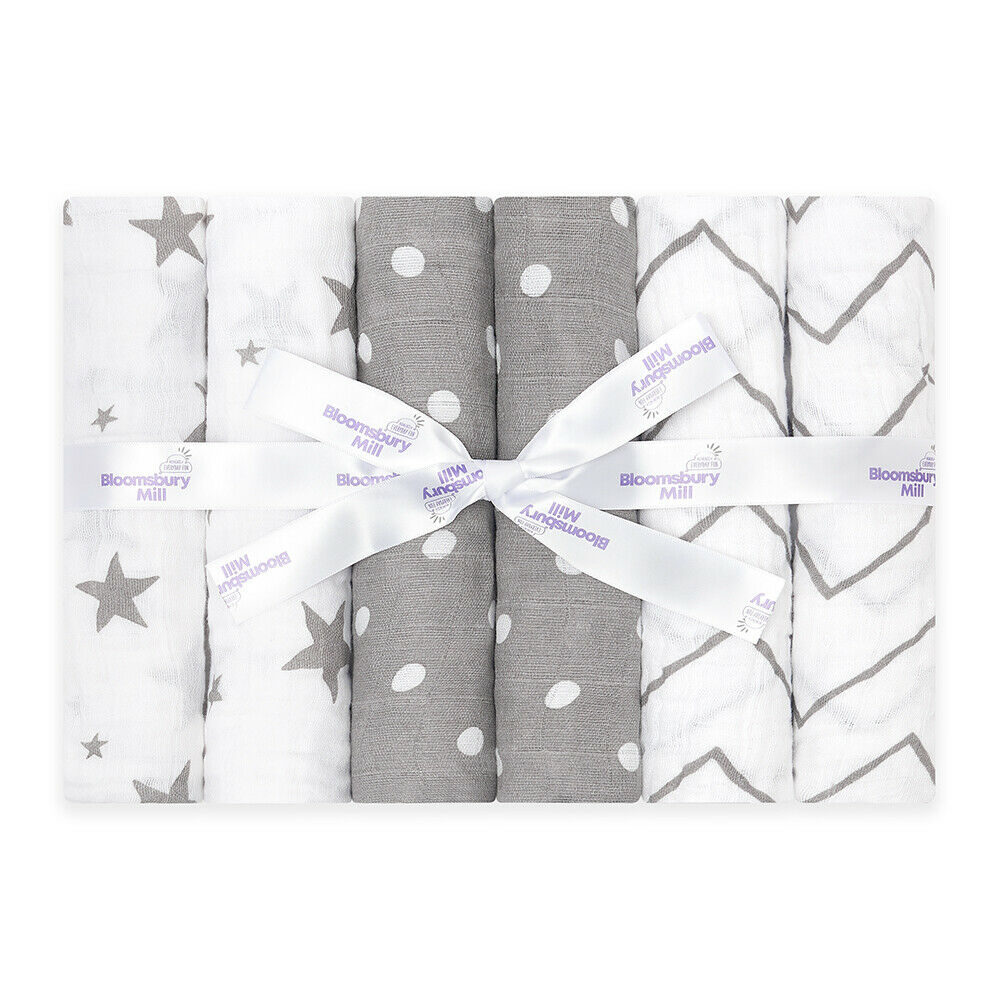 Bloomsbury Mill Organic Baby Muslin Squares Soft Cotton Cloth Bib Grey  - 6 Pack