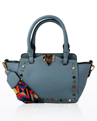 Women/'s Gems And Studs Embellished Hand Bag With Multi Colour Guitar Style Strap
