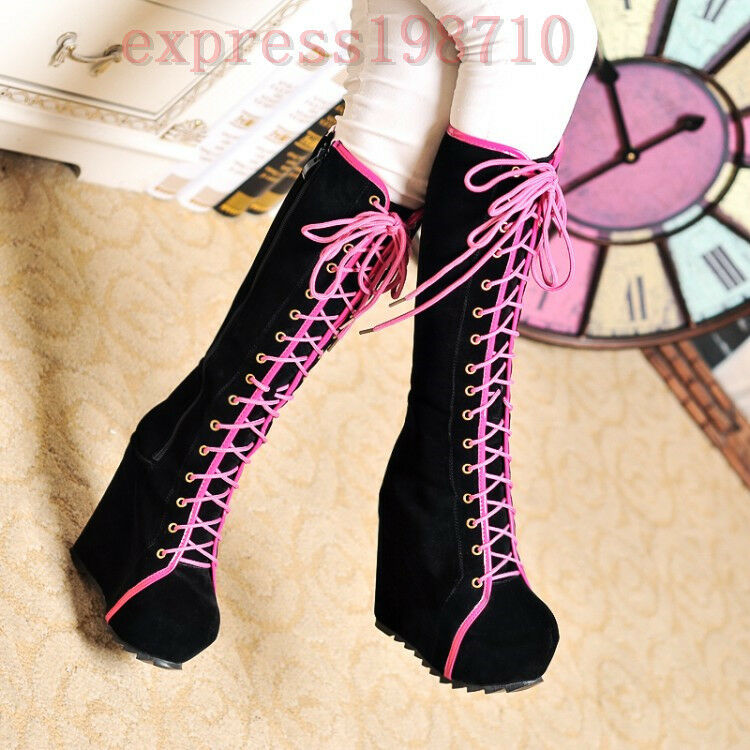 Women New Roman Platform Wedge Gothic Punk Cosplay Lace Up shoes Knee High Boots