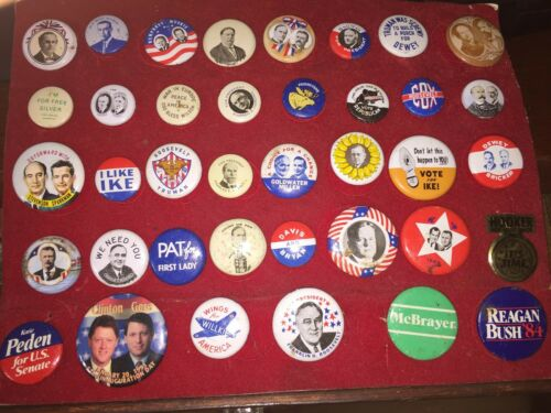 American Oil AO1972 Reproduct Campaign Buttons Pins 1800's1972 Lot of 38 WOW