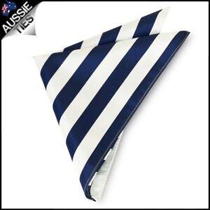 6822cfa3b8a77 Mens Navy Blue & White Striped Pocket Square Handkerchief hanky   eBay