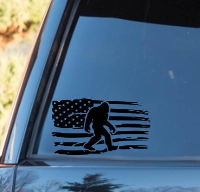 Bigfoot Sasquatch Distressed American Flag Vinyl Decal