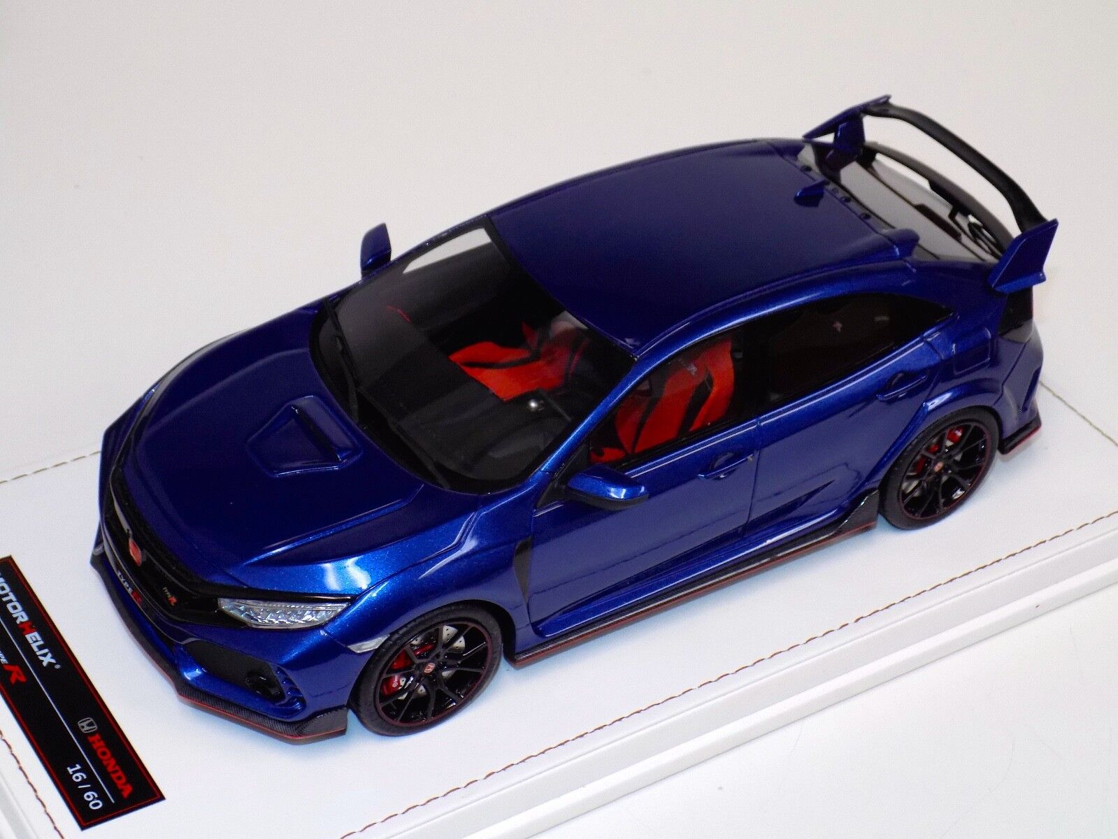 1/18 MotorHelix Honda Civic Type R LHD in Gloss Metallic Blue Leather base