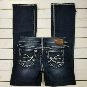 Silver-Jeans-Aiko-Womens-28x33-Dark-Wash-Low-Rise-Bootcut-Thick-Stitch-J245