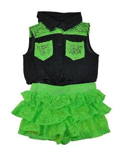 c3229892da6a Pinkhouse Girls Chambray   Lime Laced Tier Ruffled Romper Size 7 8 ...