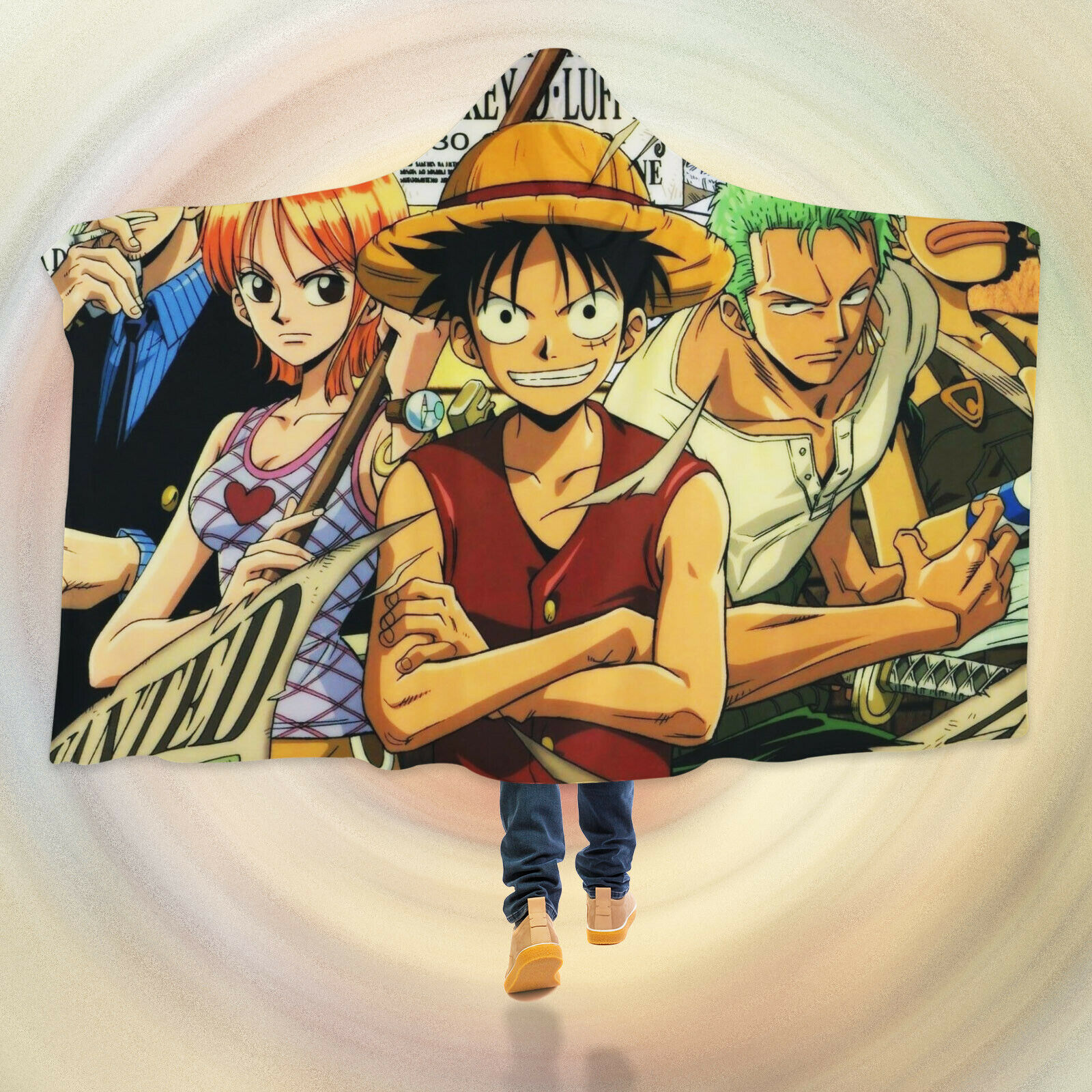 3D ONE PIECE Luffy G039 Hooded Blanket Cloak Japan Anime Cosplay Game Wendy