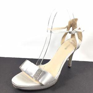 690c3ed8c Menbur Womens Size Euro 40 M Silver Ankle Strap Heel Dress Sandals ...