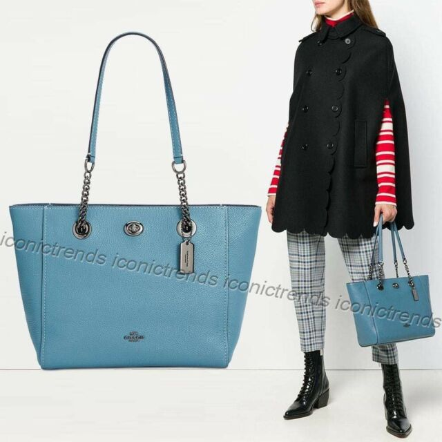 8287ad45b00b NWT 🐳 Coach 57107 Pebbled Leather Turnlock Chain Tote 27 Handbag Chambray  Blue