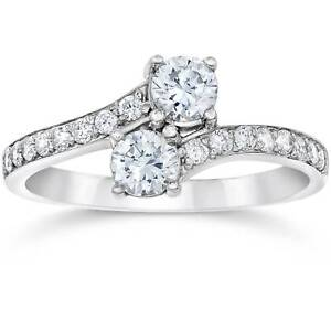SI1-G-Forever-Us-Two-Stone-Round-Diamond-1-00-Ct-Solitaire-Ring-14k-White-Gold