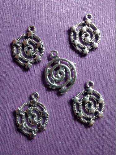 5 10 15 céleste Tibetan Silver Charms Pendentif Wicca Pagan Sun Moon Star Galaxy