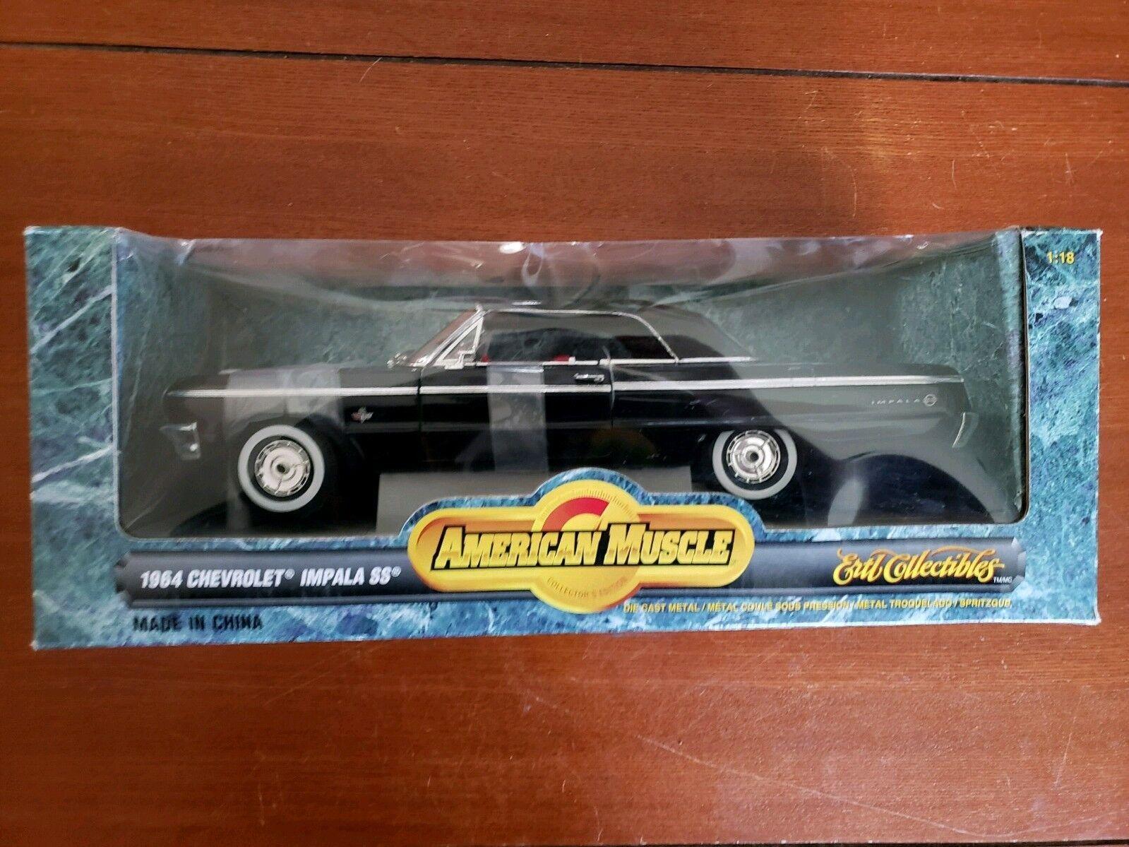 entrega rápida Chevy 1 18  1964 1964 1964    Impala SS  Negro  Ertl American Muscle   1998 año de producción  punto de venta en línea
