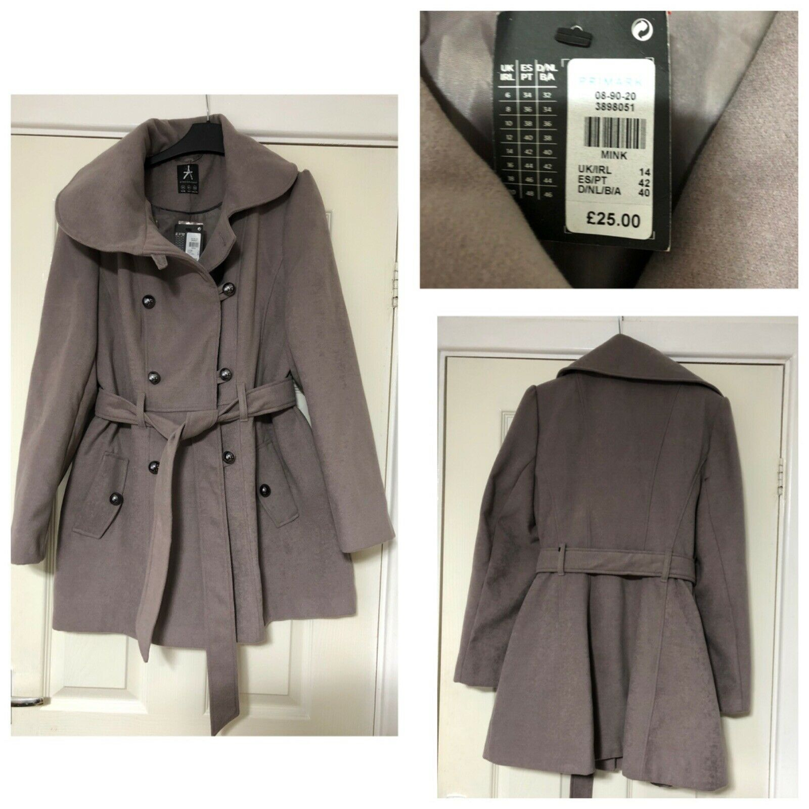 Atmosphere Coat Grey Purple With Belt Buttons Size 14 New With Tags (B121)