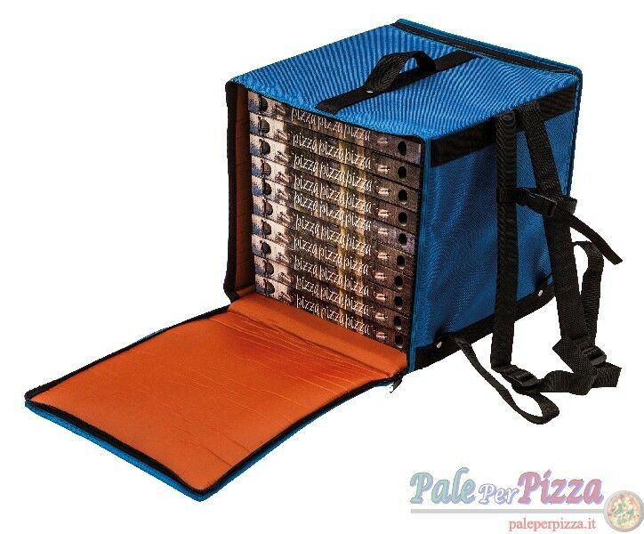Borsa termica a zaino con cerniera per 7 cartoni pizza da 40 cm