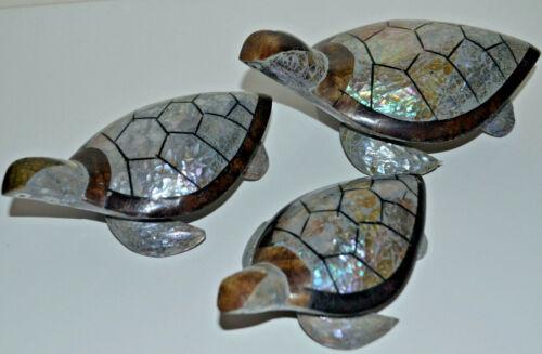 Handmade Figurine Statue Art-6 colors Shell Turtle Set of 3