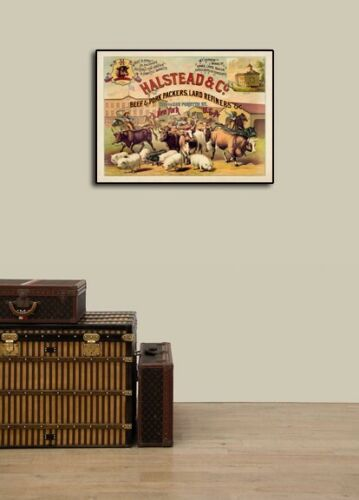 Halstead Beef Packers 1886 Cattle Herd Vintage Style Poster 18x24