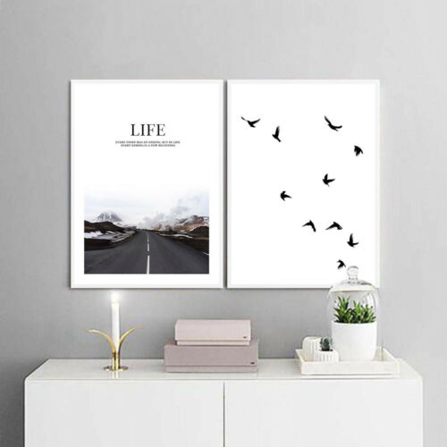 Road Life Quote Canvas Poster Motivation Wall Art Prints Nordic Home Decoration