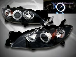 Details about 04-08 MAZDA 3 SEDAN JDM BLACK CCFL HALO PROJECTOR HEADLIGHTS  HEADLAMPS ASSEMBLY