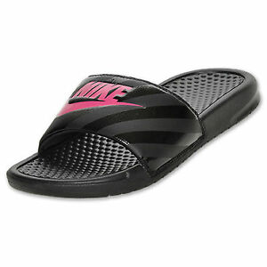 60378e448701 Women  039 s Nike Benassi JDI Swoosh Slide Sandals Black Pink NWT SALE