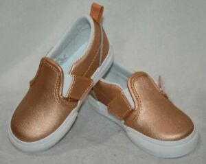 sale retailer bbb53 f93a2 Details about Vans Toddler Girl's Metallic Leather Rose Gold Slip On Skate  Shoes-Size 7.5 NWB