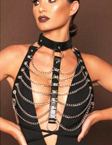 Hot Women PU Leather Chest Harness Belt Strappy Body Caged Bra gothic chest belt