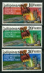 Steel-Mill-mnh-set-of-3-stamps-1970-Philippines-1051-3