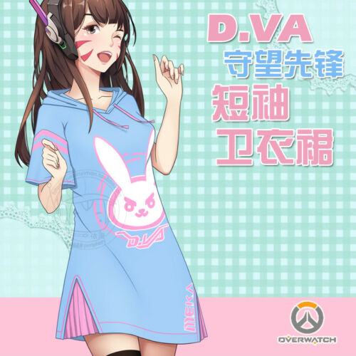 Overwatch D Va Fille Cosplay pull robe Lapin Oreilles Chapeau Halloween Costumes OW