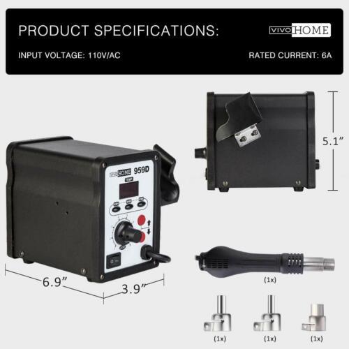 VIVOHOME 959D Digital Display SMD Hot Heat Air Gun Soldering Iron Gun Welder US