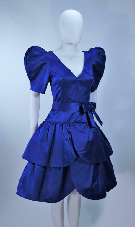 ARNOLD SCAASI Blue Satin Cocktail Dress with Bow … - image 5