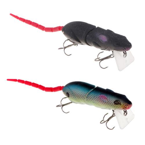 2pcs Multi-joint Mice Rat Topwater Fishing Lures Crankbait 2 Treble Hooks