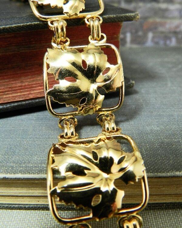 Vintage Yellow gold Filled Maple Leaf Link Bracelet
