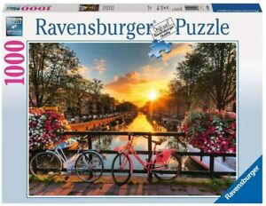 NEW 1000 Piece Original Ravensburger Puzzle: Bicycles in Amsterdam