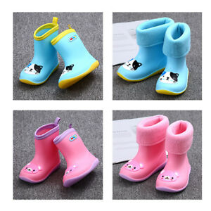 0a9736c76cd4 Details about Girls Boys Toddler Kids Wellies Rain Winter Snow Boots Age 2-5  years