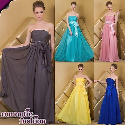 ♥5 Farben Gr. 34-54 seidiger Chiffon Abendkleid, Cocktailkleid, Ballkleid  +NEU♥