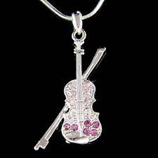 w Swarovski Crystal ~Purple Fiddle VIOLIN Bow Music Musical Pendant Necklace New
