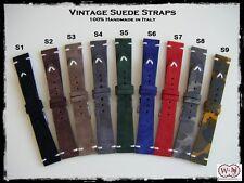 Cinturini artigianali in pelle scamosciata. Vintage suede leather straps 20-22mm