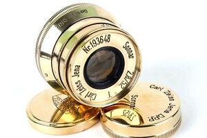 Sonnar-Carl-Zeiss-Jena-Gold-2-8-52mm-m39-Objektiv-fuer-Leica-Nachbau-exzellenter